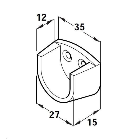 2 x white brackets for 20mm oval wardrobe rail end bracket